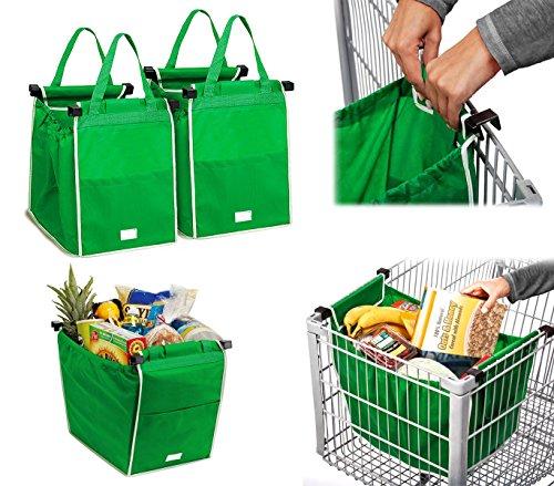 300162 Set 2 shopping bag da carrello riutilizzabili e richiudibili 34x24x30cm. MEDIA WAVE store ®