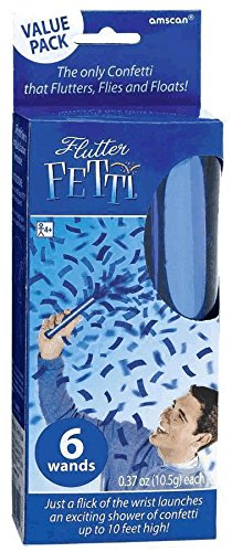 "Amscan Blasting Flutter Fetti Wands Value Pack Party Supplies (6 Count), 6"", Blue - 1"