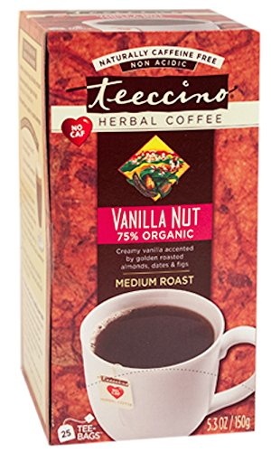 Teeccino Herbal Coffee, Vanilla Nut, Caffeine-Free, 25-Count Tea Bag (Low Acid Instant Decaf Coffee compare prices)