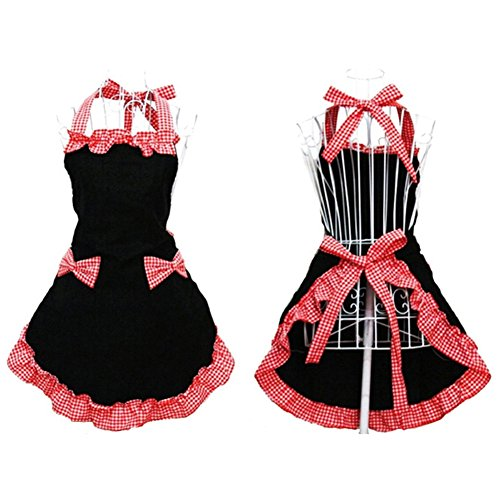 BLUBOON(TM) 3 Colors Kitchen Fashion Cute Sweety Women's Ladies Working Chefs Kitchen Cooking Cook Flirty Apron with Bowknots Pockets Design Bowknot Apron Dress (Black and Red)