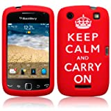 BLACKBERRY CURVE 9380 KEEP CALM & CARRY ON LASERED SILICONE SKIN CASE / COVER / SHELL - RED/WHITEby TERRAPIN
