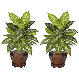 Dieffenbachia w Wood Vase Silk Plant - Set of 2