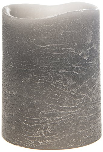 The Amazing Flameless Candle Distressed Unscented 10Mm Led Wax Pillar, 3 By 4-Inch, Grey