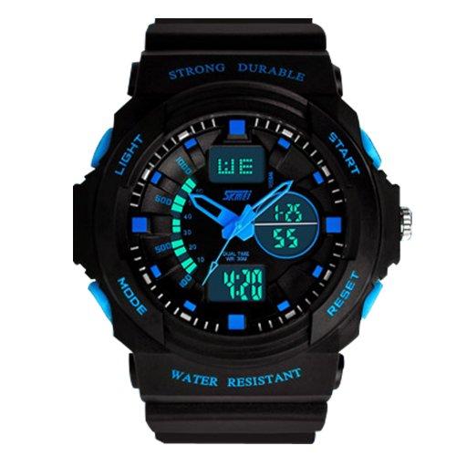 SMK Fashion Led Light Calendar Waterproof&shockproof Men Digital Electronic Outdoor Wrist Sport Watch-4 LED Colors (Blue) (With Black Stell Case)