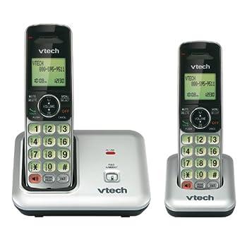 VTech CS6419-2 DECT 6.0 Cordless Phone, Silver/Black, 2 Handsets