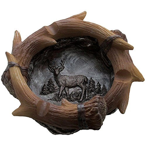 Decorative Deer Antler Ashtray in Rustic Hunting Lodge Bar Decorations or Cabin Decor and Artistic Wildlife Animal Collectibles and Gifts for Buck Hunters or Outdoorsmen