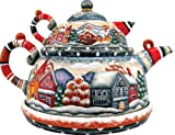 Winter Mountain Village – Russian Handcarving – Set of 3 (Teapot, Creamer & Plate) Best Deals