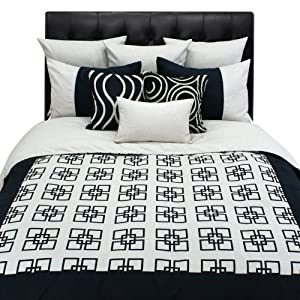 Chooty Silhouette Onyx-Soie Plum 104  by 98-Inch Mitered King Hemmed Coverlet and 2 Corded Shams at Sears.com