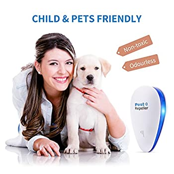 [2018 UPGRADED] Ultrasonic Pest Control Repeller - Electronic Pest Repeller, Pest Control - Repel Mouse, Bed Bugs, Mosquitoes, Spiders, Roaches, Non-toxic Eco-Friendly, Human & Pet Safe (4 PACKS)