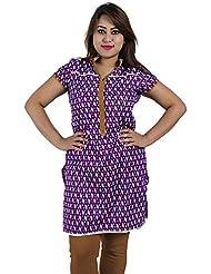 Simply Sapnaa's Women's Cotton Printed Half Sleeve Kurti (Purple)