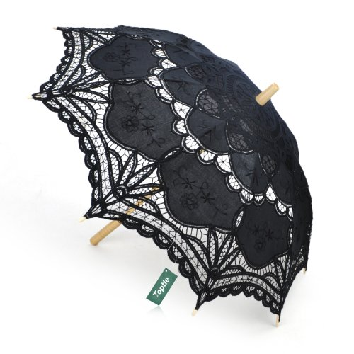 TopTie Lace Umbrella, Battenburg Lace Parasol, Wedding Umbrella BLACK
