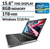 "2016 New Edition Dell Inspiron 5000 15 High Performance Laptop Windows 7/10 Professional, Skylake Intel Core i7-6500U, AMD Radeon R5 M335 4GB DDR3, 8GB RAM, 1TB HDD, 15.6"" FHD Anti-Glare Display, DVD"