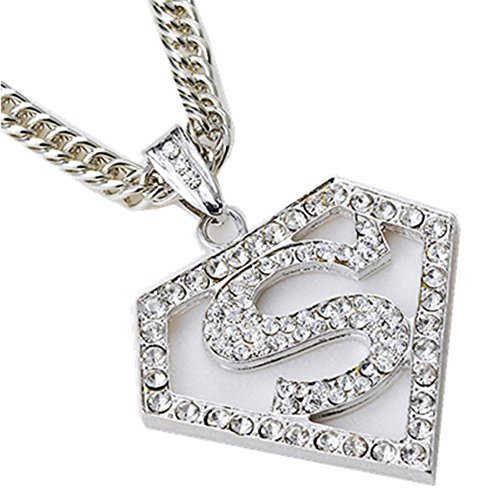 JOU superman Hip hop HIPHOP hip hop rap Necklace (Silver) ()