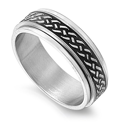 8mm Spinner Dirt Bike / Motorcycle Tire Marks Silver Stainless Steel Men Band Ring 7-14 (10)