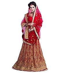 Fashion Gallery Red Georgette Net Designer Lehenga