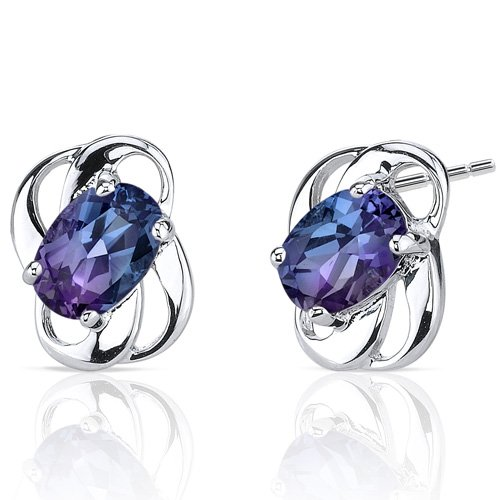 Revoni 925 Sterling Silver Classy 2ct Alexandrite Earrings with Colour Change Hue