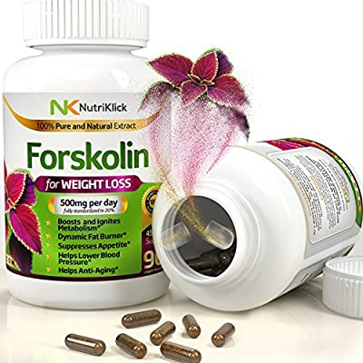 #1 Pure Best Forskolin Extract ? Appetite Suppressant Weight loss Pill Fat burner Belly buster Increases metabolism ? 500 mg recommended maximum strength ?90 capsules ?Dietary Supplement men and women