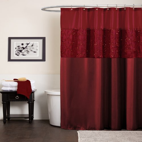 Lush Decor Maria Shower Curtain, Red