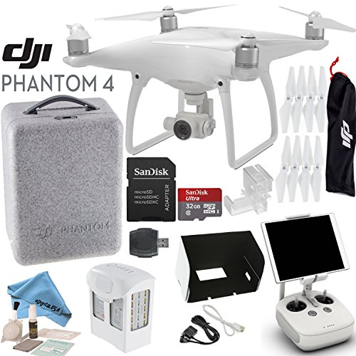 DJI-Phantom-4-Quadcopter-w-eDigitalUSA-Bundle-Includes-Intelligent-Flight-Battery-SanDisk-32GB-MicroSD-Card-Monitor-Hood-and-more