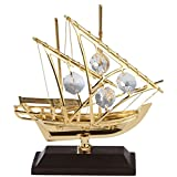 24K Gold Plated Arabian Fishing Boat Studded With Swarovski Crystals