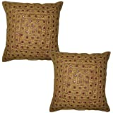 Cotton Cushion Cover Embroidery Mirror Work 16 By 16 Inches Set 2 Pcs