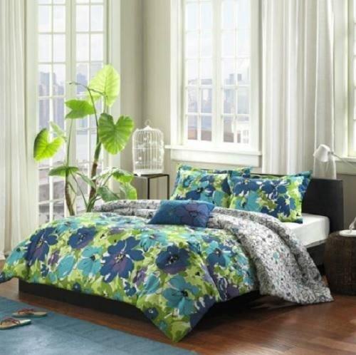 Full Queen Girls Teen Blue Green Purple Tropical Floral Comforter Bedding Set front-937151