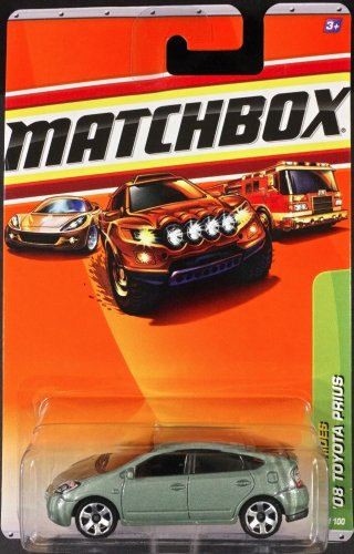 Mattel Matchbox 2008 Mbx Metro Rides 1:64 Scale Die Cast Metal Car # 25 - Full Hybrid Electric Mid-Size Car Silver Color '08 Toyota Prius