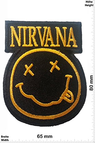 Patch - Nirvana - Smiley - black/gold - Fun Patch - Adult - Chaleco - toppa - applicazione - Ricamato termo-adesivo - Give Away