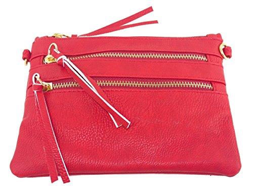 Beaute Bags Mini 4-Zip Convertible Clutch Cross-Body Handbag Vegan Leather Purse Wallet with detachable wrist strap and cross-body strap