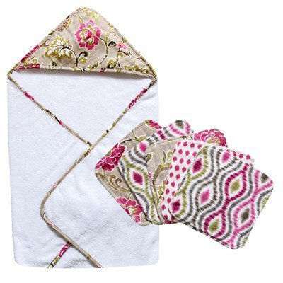 waverly-baby-jazzberry-bouquet-hooded-towel-and-wash-cloth-set-by-trend-lab