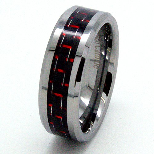 Blue Chip Unlimited - Unisex 8mm Tungsten Carbide Ring with Black & Red Carbon Fiber Inlay Wedding Band Designer Fashion Engagement Ring Size Z+3