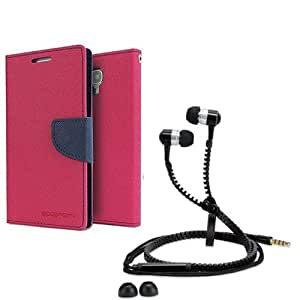 Aart Fancy Diary Card Wallet Flip Case Back Cover For Mircomax A117-(Pink) + Zipper earphones/Hands free With Mic *Stylish Design* for all Mobiles By Aart store