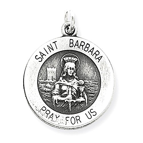 Sterling Silver anticato Santa Medaglia Barbara