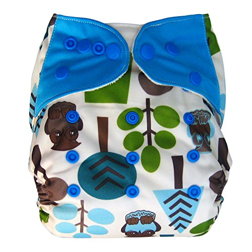 Bamboo All In One Cloth Diaper with Pocket, Owls
