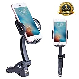 Car Mount,Sundix(TM) Dual USB Universal Car Charger Holder Mount with Cigarette Lighter Chargers for iPhone/Samsung/HTC/Sony/Moto/LG Most Type of Smartphones