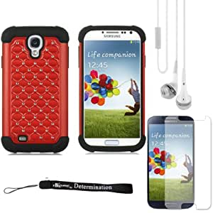 Red Elegant Diamond Back Cover with Additional Silicone Skin For Samsung Galaxy S4 Android Smartphone 4G LTE (Jelly Bean)