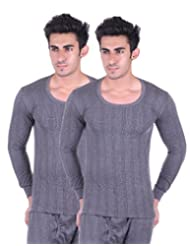 Unix Men's Grey Thermal Top Winter Wear (Pack Of 2) (UN3610-$P)