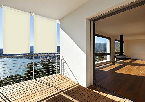 sonnen schutz au en rollo balkon rollo 140 x 140 cm beige creme balkon sicht schutz 1 st ck. Black Bedroom Furniture Sets. Home Design Ideas