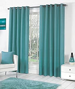 Teal 100% Cotton 46x90 117x229cm Fully Lined Ring Top Curtains Drapes from Curtains