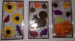 Fall Harvest Gel Window Clings ~ Set of 3: Squirrel, Acorns, Fall Leaves, Pumpkin, Sunflowers (3 Sheets, 19 Clings)