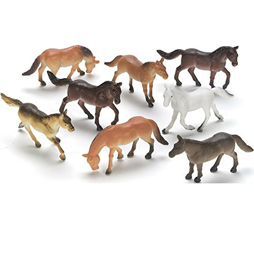 DeMarkCo Plastic Horses Miniature Novelty Toys Party Favors, 20 Count Best Gift For Boys Toys