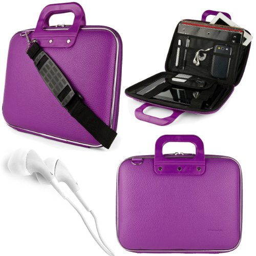 "Purple SumacLife Cady Bag Case w/ Shoulder Strap for Supersonic 9"" Tablet + White VanGoddy Headphones at Electronic-Readers.com"