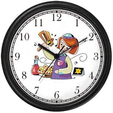 Girl with Gragger during Purim Judaica Jewish Theme Wall Clock