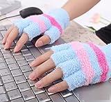 Sealike Winter Warm Plush Stripe USB Heated Fingerless Gloves Hand Warmer for Women Girls with Stylus Blue