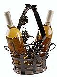 Premium Metal Ornate Gift Basket Wine Bottle Holder - Holds 2 Bottles