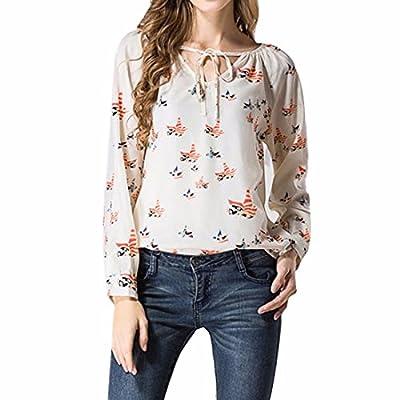Birds Printed Beige Chiffon Long Sleeve V Neckline Women T-Shirts Blouse Chemises