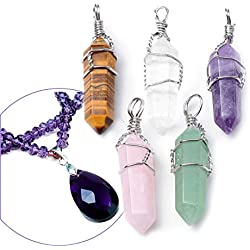 Top Plaza 5pcs Natural Amethyst+ Rose Quartz + Tiger Eye+ Green Aventurine + Rock Crystal Healing Point Chakra Pendants for Necklace Making