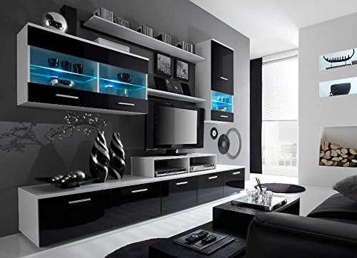 Paris Contemporary Design Wall Unit / Modern Entertainment Center / Unique Modern Design / with LED Lights / High Storage Capacity / Living Room Furniture / Tv Stand (Black & White) (Wall Units Furniture Living Room compare prices)