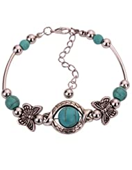Yazilind Vintage Tibetan Silver Rimous Green Turquoise Inlay Butterfly Bead Bangle Bracelet