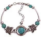 Yazilind Tibetan Silver Rimous Green Turquoise Inlay Butterfly Bead Bangle Bracelet – $3.42!